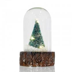 Γυάλινο Στολίδι Με Δεντράκι 3 LED Σετ 4τμχ 12x7cm Magic Christmas