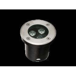 LED Εξωτερικό Χωνευτό Επιδαπέδιο Φωτιστικό Ανοξείδωτο Ματ 3W Ø100 Lotus VIOKEF