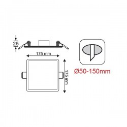 Φωτιστικό Οροφής Slim Panel Λευκό Τετράγωνο Χωνευτό LED SMD 15W 120° FLEXI Aca
