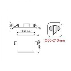 Φωτιστικό Οροφής Slim Panel Λευκό Τετράγωνο Χωνευτό LED SMD 19W 120° FLEXI Aca