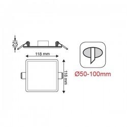 Φωτιστικό Οροφής Slim Panel Λευκό Τετράγωνο Χωνευτό LED SMD 9W 120° FLEXI Aca
