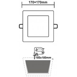 Χωνευτό Slim Panel Λευκό Τετράγωνο LED SMD 12W 120° PLATO Aca