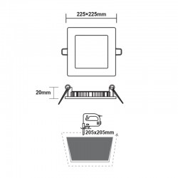 Χωνευτό Slim Panel Λευκό Τετράγωνο LED SMD 18W 120° PLATO Aca