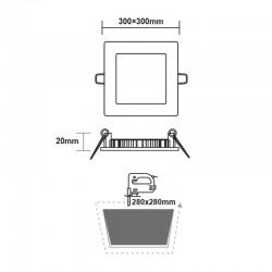 Χωνευτό Slim Panel Λευκό Τετράγωνο LED SMD 24W 120° PLATO Aca