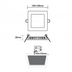Χωνευτό Slim Panel Λευκό Τετράγωνο LED SMD 6W 120° PLATO Aca