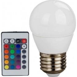 LED Λάμπα E27 G45 4W 230V RGBW Με Τηλεχειριστήριο Diolamp
