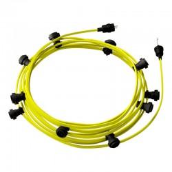 Γιρλάντα Έτοιμη Για Χρήση, 12,5m Υφασμάτινο Καλώδιο Πλακέ Κίτρινο Φωσφοριζέ CF10 με 10 Ντουί, Γάντζο Και Φις Creative Cables