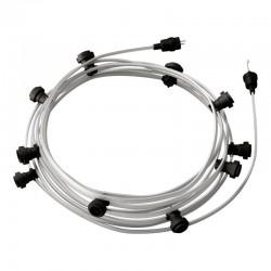 Γιρλάντα Έτοιμη Για Χρήση, 12,5m Υφασμάτινο Καλώδιο Πλακέ Ασημί CM02 με 10 Ντουί, Γάντζο Και Φις Creative Cables