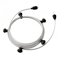 Garland Ready for Use 7,5m CM02 Stainless Steel Cable with 5 Lamp, Hook and Connector Creative Cables