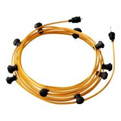 Γιρλάντα Έτοιμη Για Χρήση, 12,5m Υφασμάτινο Καλώδιο Πλακέ Χρυσό CM05 με 10 Ντουί, Γάντζο Και Φις Creative Cables