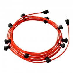 Garland Ready For Use, 12.5m CF 10 Orange Phosphorescent Fabric Cable with 10 Lamps, Hook and Connector Creative Cables