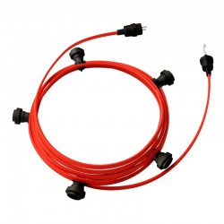 Garland ready for use, 7,5m fabric plated Red CM09 cable with 5 sockets, hook and plugs Creative Cables