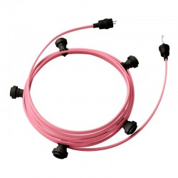Garland Ready For Use, 7,5m CM16 Pink Woven Fabric Cable with 5 Lamps, Hook and Connector Creative Cables