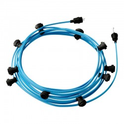 Γιρλάντα Έτοιμη Για Χρήση, 12,5m Υφασμάτινο Καλώδιο Πλακέ Γαλάζιο Απαλό CM17 με 5 Ντουί, Γάντζο Και Φις Creative Cables