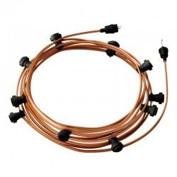 Γιρλάντα Έτοιμη Για Χρήση, 12,5m Υφασμάτινο Καλώδιο Πλακέ Ουίσκι CM22 με 10 Ντουί, Γάντζο Και Φις Creative Cables