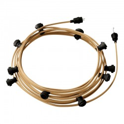 Γιρλάντα Έτοιμη Για Χρήση, 12,5m Υφασμάτινο Καλώδιο Φυσικό Σχοινί Γιούτα CN06 με 10 Ντουί, Γάντζο Και Φις Creative Cables