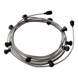 Γιρλάντα Έτοιμη Για Χρήση, 12,5m Υφασμάτινο Καλώδιο Πλακέ Ψαροκόκκαλο Ασπρόμαυρο CZ04 με 10 Ντουί, Γάντζο Και Φις Creative Cables