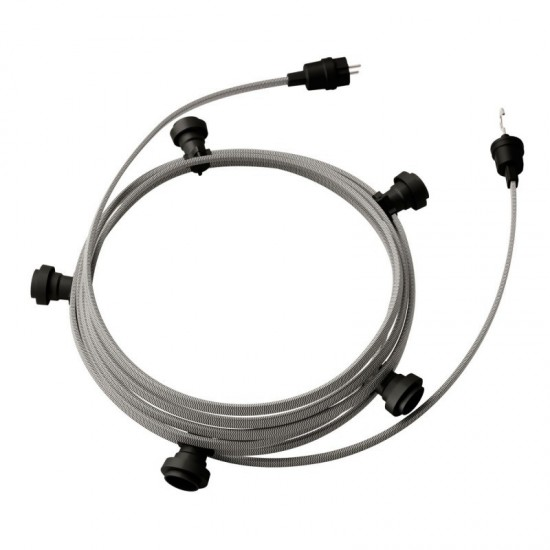 Garland Ready to Use, 7,5m Fabric Boot Plate Barker Black CZ04 with 5 Lamp, Hook and Connector Creative Cables