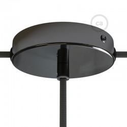 Ροζέτα Πλακέ Μεταλλική Με 1 Τρύπα Στο Κέντρο Και 2 Τρύπες Στο Πλάι, Με Βίδες, Στήριξη, Και Πλακέ Ανθρακί Στήριγμα Καλωδίου - Ανθρακί Creative Cables