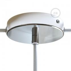Ροζέτα Πλακέ Μεταλλική Με 1 Τρύπα Στο Κέντρο Και 2 Τρύπες Στο Πλάι, Με Βίδες, Στήριξη, Και Πλακέ Στήριγμα Καλωδίου - Χρωμίου Creative Cables