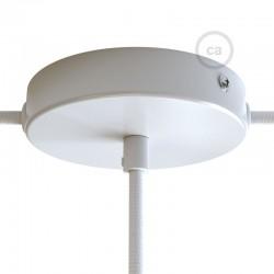 Ροζέτα Πλακέ Μεταλλική Με 1 Τρύπα Στο Κέντρο Και 2 Τρύπες Στο Πλάι, Με Βίδες, Στήριξη, Και Πλακέ Στήριγμα Καλωδίου - Λευκή Creative Cables