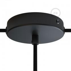 Ροζέτα Πλακέ Μεταλλική Με 1 Τρύπα Στο Κέντρο Και 2 Τρύπες Στο Πλάι, Με Βίδες, Στήριξη, Και Πλακέ Στήριγμα Καλωδίου - Μαύρη Creative Cables