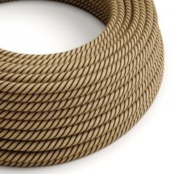 Στρόγγυλο Υφασμάτινο Καλώδιο Vertigo ERD21 Ριγέ Καφέ Φυσική Τριχιά Creative Cables