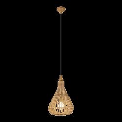 Vintage Κρεμαστό Μονόφωτο Φωτιστικό Ξύλινο Ø350 1x60W E27 AMSFIELD Eglo