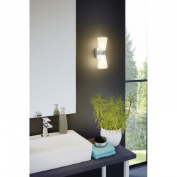 LED Bathroom Sconce In Chrome - White G9 2 x 2.5W CAILIN Eglo