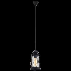 Vintage Κρεμαστό Μονόφωτο Φωτιστικό Φανάρι Αντικέ Ασημί ή Μαύρο 1x E27 60W BRADFORD Eglo