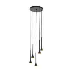 LED Φωτιστικό Οροφής Πολύφωτο Σε Μαύρο Και Χρυσό LED 5x 5W GU10 5x 400lm 3000K CORTADERAS Eglo