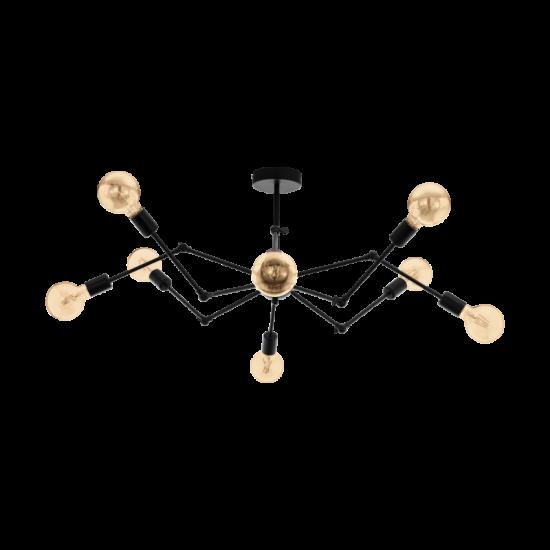 Ceiling Lighting Metallic In Black Color Ø96cm 8x E27 60W EXMOOR Eglo