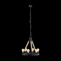 Κρεμαστό Φωτιστικό Πολύφωτο Με Σχοινί Ø56cm 6x E27 60W FINDLAY Eglo