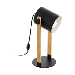 Επιτραπέζιο Φωτιστικό Σε Μαύρο Χρώμα Και Ξύλο Με Ρυθμιζόμενη Κεφαλή 1x E27 28W HORNWOOD Eglo
