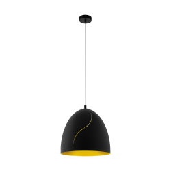 Ceiling Light In Black And Gold Color Ø40.5cm 1x E27 60W HUNNINGHAM Eglo