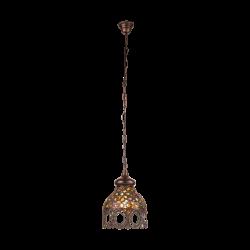 Vintage Κρεμαστό Μεταλλικό Φωτιστικό Αντικέ Με Πολύχρωμο Γυαλί Ø22cm 1 x 60W E27 JADIDA Eglo