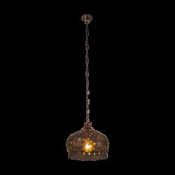Vintage Κρεμαστό Μεταλλικό Φωτιστικό Αντικέ Με Πολύχρωμο Γυαλί Ø33cm 1 x 60W E27 JADIDA Eglo