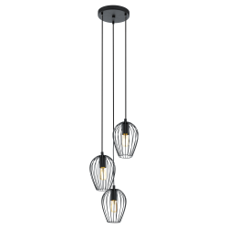 Ceiling Light Black Metallic 3x 60E E27 NEWTOWN Eglo