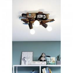 Children's Ceiling Light Wooden Three Lights With Pirates Theme 3x E27 40W SAN CARLO Eglo
