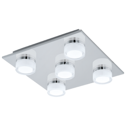 LED Bathroom Ceiling In Satin Chrome Color 5x 4,5W 2400 lm IP44 ROMENDO Eglo