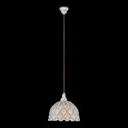 Vintage Κρεμαστό Μεταλλικό Φωτιστικό Σε Λευκό Αντικέ Ø29,5cm 1 x 60W E27 TALBOT 2 Eglo