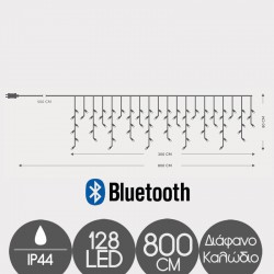 128 LED Icicle With Bluetooth With Transparent Cable IP44 - Warn White And Multi Colors Magic Christmas