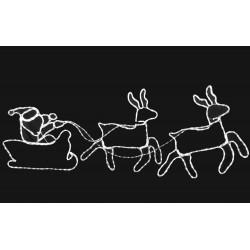Santa Claus And Sleigh 12m. LED White Tube IP44 288 LED 206x65cm Magic Christmas