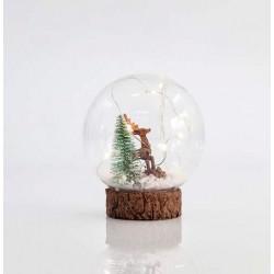 Γυάλινο Στολίδι Με Δεντράκι Και Ελαφάκι 10 LED ø12cm Magic Christmas