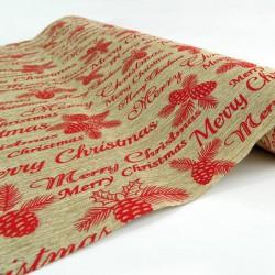 Κορδέλα Μπεζ Με Κόκκινο Merry Christmas, 50cm, 5,5 Yards - Magic Christmas