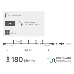 180 LED Σε Σειρά Με Επέκταση Με Πράσινο Καλώδιο Πολύχρωμο DIMMABLE - 13,42m IP44 Magic Christmas