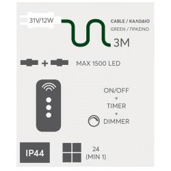 Μετασχηματιστής Για LED Σε Σειρά Με Επέκταση Με Χειριστήριο - Dimmer IP44  31V / 12W Magic Christmas