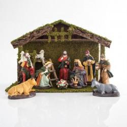 Φάτνη Ξύλινη Με 9 Πορσελάνινες Φιγούρες, 54x22x36.5cm - Magic Christmas