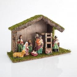 Φάτνη Ξύλινη Με 9 Πορσελάνινες Φιγούρες, 40x15x25cm - Magic Christmas