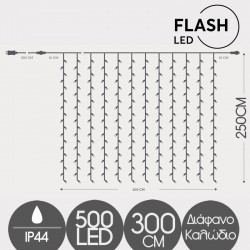 500 FLASH LED Curtain Light With Connector With Transparent Cable Warm White - 2600Κ IP44 Magic Christmas